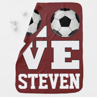 Soccer Love Custom Name/Text/Color Newborn Baby Baby Blanket