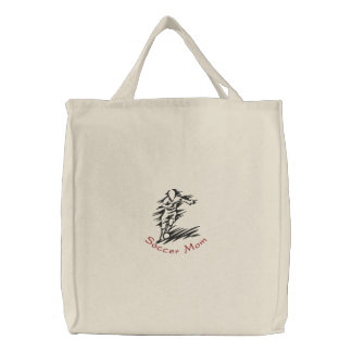 Soccer Mom Embroidered Tote Embroidered Bags