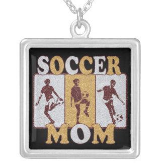 Soccer Mom Glitter Effect Square Pendant Necklace