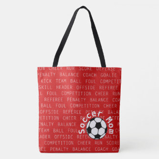 Soccer Mom Red Over All Print Bag