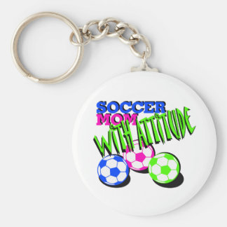 Soccer Mom with Attitude Basic Round Button Key Ring