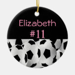 Soccer Name Number Pink Round Ceramic Decoration
