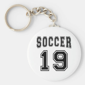 Soccer Number 19 Designs Basic Round Button Key Ring
