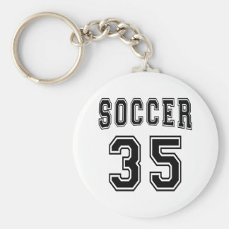 Soccer Number 35 Designs Basic Round Button Key Ring