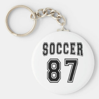 Soccer Number 87 Designs Basic Round Button Key Ring