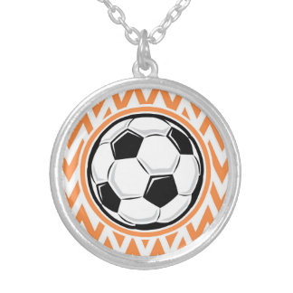 Soccer Orange and White Chevron Necklaces
