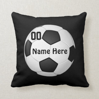 Soccer Pillow with Your COLOR, NAME and NUMBER Throw Cushions