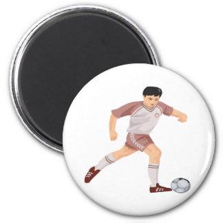 Soccer Player 6 Cm Round Magnet