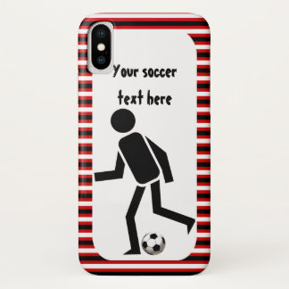 Soccer player and ball black and red stripes iPhone x case