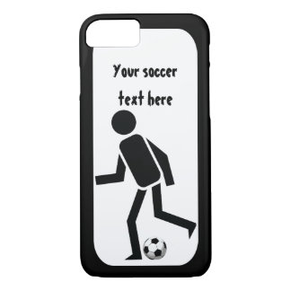 Soccer player and ball black and white iPhone 8/7 case