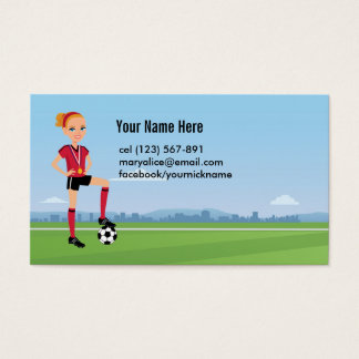 Soccer Player Calling Card for Girls