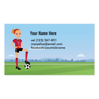 Soccer Player Calling Card for Girls Pack Of Standard Business Cards
