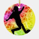 Soccer Player & Fluorescent Mosaic Christmas Ornament