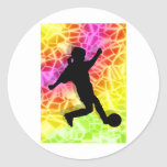 Soccer Player & Fluorescent Mosaic Classic Round Sticker