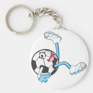 Soccer Player in Bicycle Kick Pose Basic Round Button Key Ring