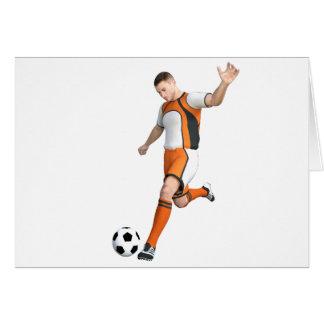 Soccer Player in Orange,Black,and White Card