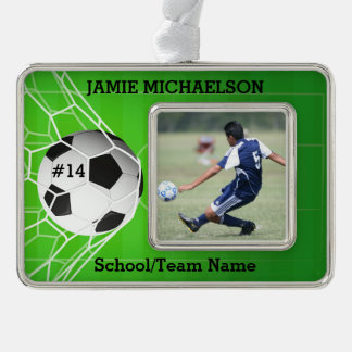Soccer Player Keepsake Silver Plated Framed Ornament