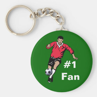 Soccer Player Basic Round Button Key Ring