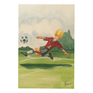 Soccer Player Kicking a Ball by Jay Throckmorton Wood Print