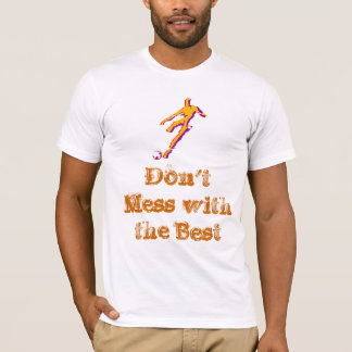 Soccer player kicking ball with saying on t-shirt