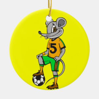 Soccer Player Mouse Round Ceramic Decoration