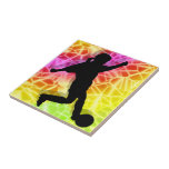 Soccer Player on Fluorescent Mosaic