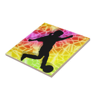 Soccer Player on Fluorescent Mosaic Tiles