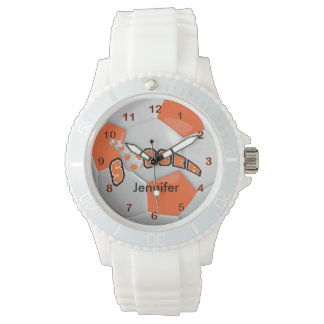 Soccer Player Sporty Orange Soccer Ball Wrist Watches