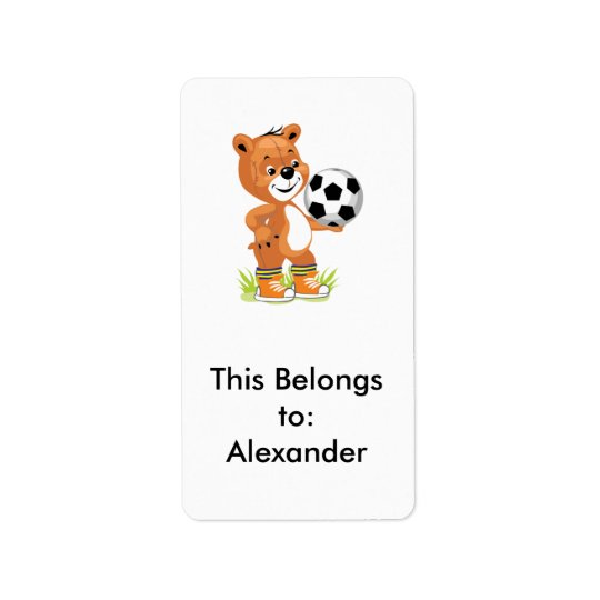 soccer player teddy bear cartoon graphic address label