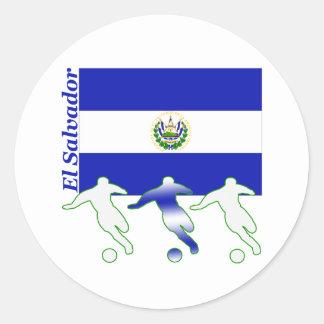 Soccer Players - El Salvador Round Sticker