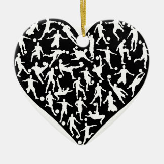Soccer Players Heart Ceramic Heart Decoration