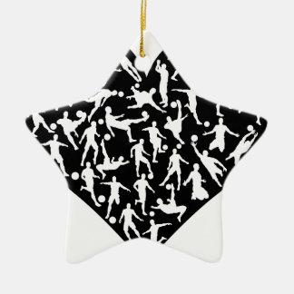 Soccer Players Heart Ceramic Star Decoration