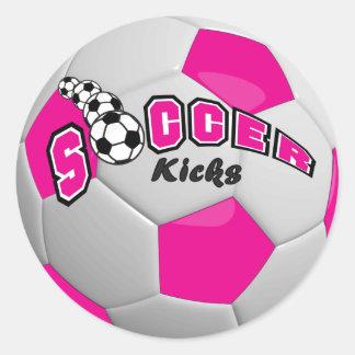 Soccer Players Kicks   Hot Pink Round Sticker