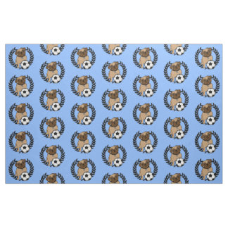Soccer Pug - Black & White, Choose your background Fabric
