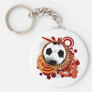 Soccer Punk Circles Red Keychain