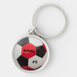 Soccer Red White and Black Key Ring Silver-Colored Round Key Ring
