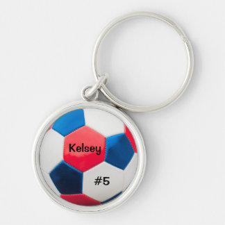 Soccer Red White and Blue Key Ring Silver-Colored Round Key Ring