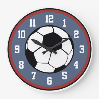 Soccer Red White and Blue Large Clock