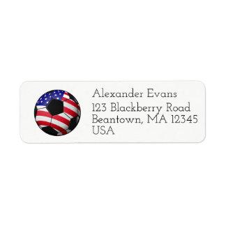 Soccer Red White Blue Return Address Label