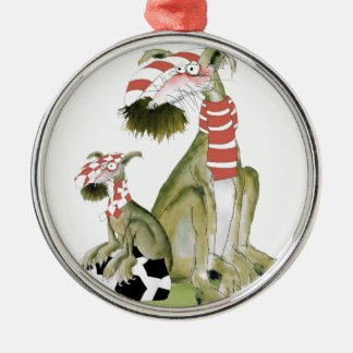 soccer reds, like father like son metal ornament