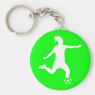 Soccer Silhouette Keychain Green