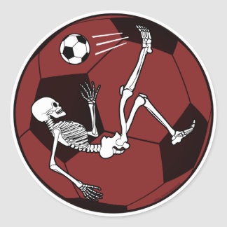 Soccer Skeleton Classic Round Sticker