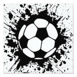 soccer splatz 13 cm x 13 cm square invitation card