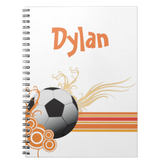 Soccer Sports Ball Game Personalized Name Spiral Notebook