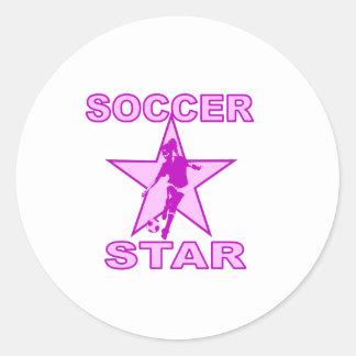 Soccer Star Pink Tones Round Sticker