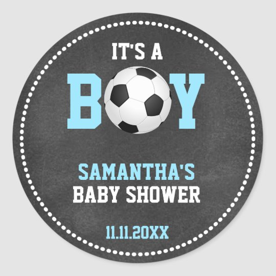 Soccer Theme Baby Shower Chalkboard Blue Boy Classic Round Sticker