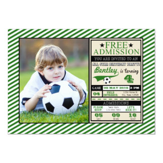 Soccer Ticket Photo Birthday Invitation