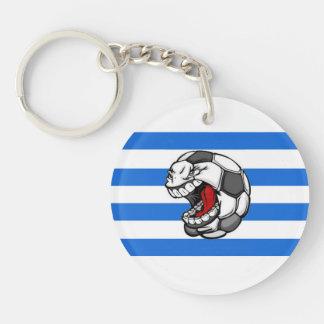 Soccer, Uruguay-style Double-Sided Round Acrylic Key Ring