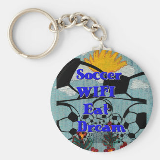 Soccer WIFI Eat Dream Repeat. Basic Round Button Key Ring