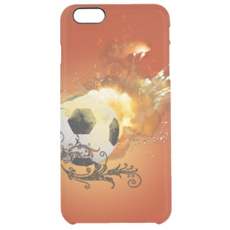 Soccer with fire clear iPhone 6 plus case